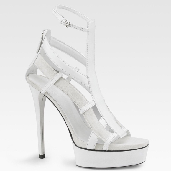 64aea0165120 Gucci Shoes - GUCCI Platform Heels Cage Daryl White Leather